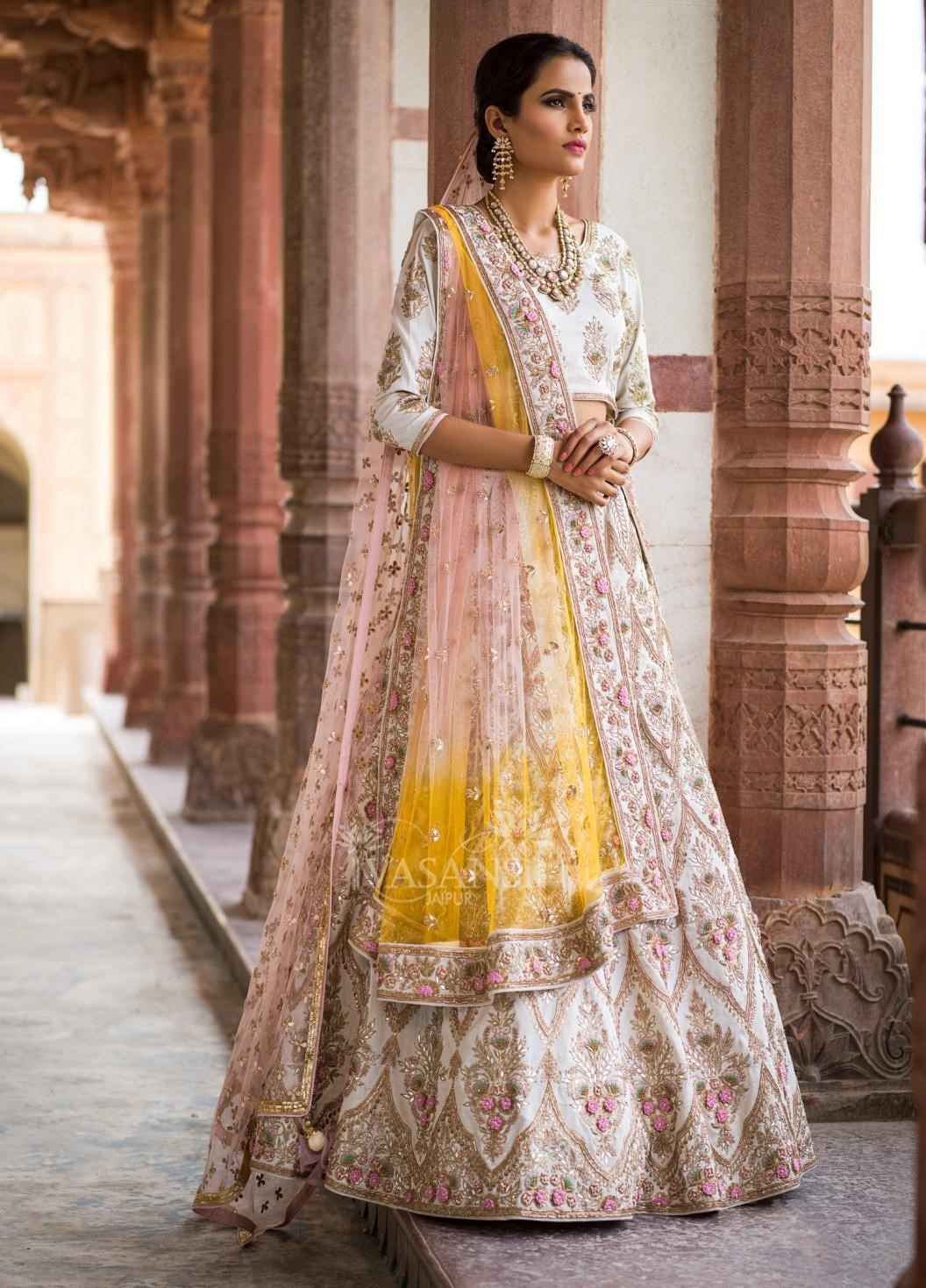Heavy Embroidered White lehenga
